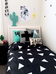 Swiss Cross Stripe Black and White Kids Home Decor by CactusCo