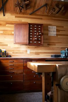 paneling, bench, cabinets, nail/screw case, feels.