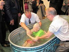 Nearly 100 years old, sister being baptized. I love this picture. Love for Jehovah!