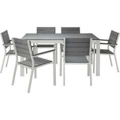 IKEA FALSTER Table and 6 chairs, gray (4 165 SEK) ❤ liked on Polyvore featuring home, outdoors, patio furniture, gray patio furniture, gray outdoor furniture, weather resistant patio furniture, grey patio furniture and grey outdoor furniture