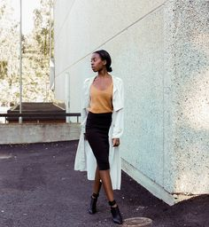 via LookBook Lazy Day Outfits, Night Outfits, Long Trench Coat, Classy Women, Classy Lady, Skirt Fashion, Minimalist Fashion, Outfit Of The Day, Work Wear