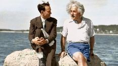 EINSTEIN RELAXING AT THE BEACH NEAR LONG ISLAND WITH WITH FRIEND AND LOCAL DEPARTMENT STORE OWNER DAVID ROTHMAN