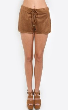 Every fashionista deserves a pair of cute lace up vegan suede shorts. It's so trendy for early Fall, it's a must have. I MakeMeChic.com