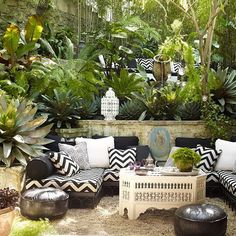 The greenery in this outdoor space is so tropical and lush #thestylephiles #outdoors #greenery #garden #terrace #courtyard #relax #retreat #summer #holiday #gardenparty #interiors #inspiration #interiordesign #design #detail #decor #decorate #style