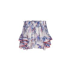 Emilio Pucci Off-The-Shoulder Flounced Top (€1.135) ❤ liked on Polyvore featuring tops, ruffle top, emilio pucci tops, frilly tops, emilio pucci and blue off shoulder top