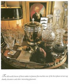 instant character & function: crystal & antique cut glass decanters, silver, a mellowed gallery tray, art, & the bouilliotte lamp. Bar Cart Styling, Bar Cart Decor, Bandeja Bar, French Style Decor, French Chic, Drinks Tray, Drinks Trolley, Beverages, Decoration Entree