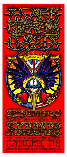 THE BLACK CROWES + OASIS  Poster         A Rick Griffin tribute..is my guess.