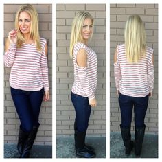 Candy Cane Open Shoulder Knit Top