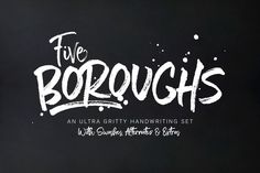 In honor of New York's Five Boroughs, this font set was designed to be reminiscent of the Big Apple: gritty and smooth; ragged yet soft; rough, beautiful and versatile.  The fonts can be used together for a unique typography duo, but also work beautifully on their own. Five Boroughs looks amazing on branding, apparel design, editorials, posters, logos, greeting cards, bags, books, mugs and more!