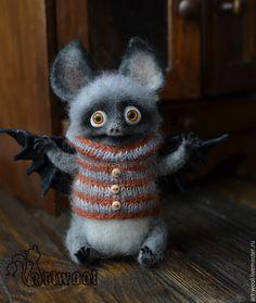 Купить Летучий Мыш - серый, оранжевый, летучая мышь, мышь игрушка, мышь валяная