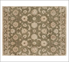 $899 in 9x12 master? Gabrielle Persian-Style Rug - Green | Pottery Barn