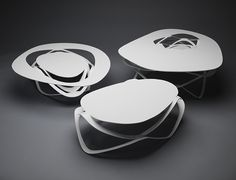 Inspired by the Japanese paper art that comprise of cutting and folding a single piece of paper into a three dimensional art form, the Infinity Curl Coffee Tables too are molded and designed using a single sheet of metal that is laser cut and then structured into a table. A good reminder of the beautiful capabilities of paper. By German Architect and designer ConstanzeSchweda.