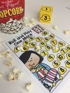 Popcorn Roll and Play! Beginning math fun for Kindergarten- roll a die and add one more. Teach numbers 1 to 10, number words, quantity recognition and more!