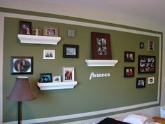 Picture wall- love the different colors