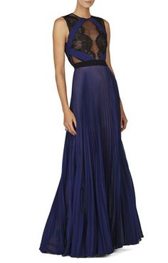 CLASSIC BLUE COMBO Red Gowns - Cortney Sleeveless Pleated Lace-Trim Gown #BCBG