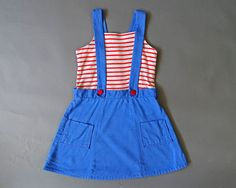 50s Girls -LITTLE LADY AT SEA DRESS - 1950s Vintage  Little Girl Blue Red White Dress - 50s Summer Dress by Kate Greenaway - Lord and Taylor. By Catinas Vintage on Etsy. #vintagegirls #littlesailor