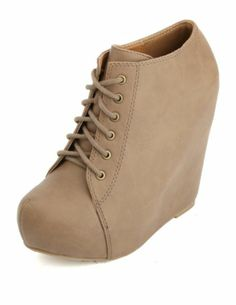 Lace-Up Platform Wedge Booties: Charlotte Russe