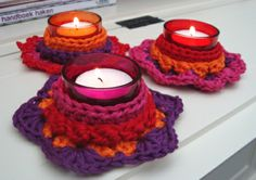 Crocheted candle holders made by nicollie.nl tutorial pattern