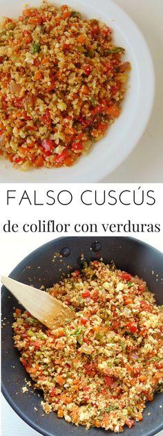 Falso cuscús de coliflor con verduras   10 minutos