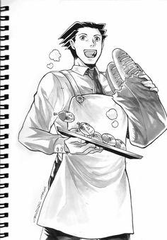 Wright anything bakery comic art by Cross Examination San Naru/Mitsu Mafia/Baker Au Phoenix Wright, Professor Layton, Mafia, Comic Art, Take That, Fandoms, Princess Zelda, Fan Art, San