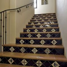 Mexican Tile For Stair Risers. Tile Stairs, House Stairs, Hacienda Style  Homes,