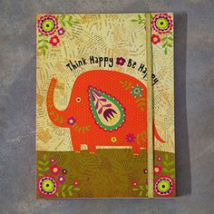 """Natural Life Elephant Journal- """"Think Happy Be Happy"""" All Gifts, Unique Gifts, Think Happy Be Happy, Elephant Illustration, Cute Stationary, Life Journal, Fancy Houses, Elephant Figurines, Cute Elephant"""