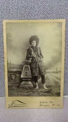 Antique Circus performer photograph with snake 1800s