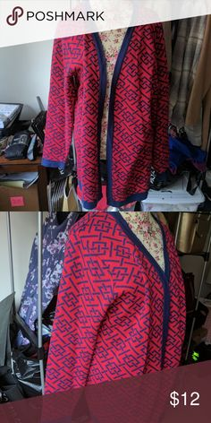 Criss cross sweater cardigan Size XL red and navy sweater Sweaters Cardigans