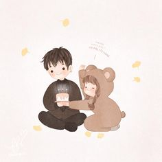 Cartoon Sketches, Cartoon Art, Anime Love Couple, Couple Cartoon, Character Art, Character Design, Cute Cartoon Images, Cute Anime Chibi, Human Art