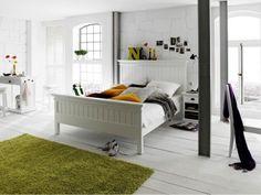 Bílá postel z mahagonového dřeva Halifax 200