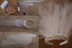 "DIY veil for Bridal Shower or Bachelorette Party: 1. Buy white tulle, white headband, and a decorative beaded headband 2. Cut 8 ""long"" strips, 4 ""medium"" and 3 ""short"" 3. Loop each strip around the headband and pull tightly. Continue adding all strips, making sure the shorter ones are in the middle 4. Use hot glue to fasten the beaded decorative headband over the tulle 5. Fluff up, wear, and enjoy!"