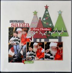 Destination Santa. Cute Christmas Scrapbooking page that uses the December Documented line from Simple Stories