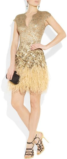 Matthew Williamson Feather and CrystalEmbellished Lace Dress in Gold