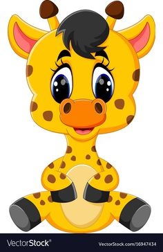 Cartoon baby giraffe sitting vector image on VectorStock Cute Cartoon Pictures, Cute Cartoon Animals, Cartoon Faces, Baby Cartoon, Cute Images, Baby Animals, Baby Giraffes, Wild Animals, Animal Drawings