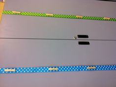 Clothes pin glued to ribbon to hang students work. Cute way to display student work.