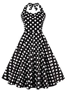 V Fashion Women's Rockabilly 50s Vintage Polka Dots Halter Cocktail Swing Dress *** Click here for more details @ http://www.amazon.com/gp/product/B018VSOZ8U/?tag=passion4fashion003e-20&uv=080816123138