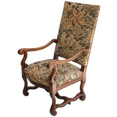 19th Century Louis XIV Style Hand Carved Armchair | From a unique collection of antique and modern armchairs at https://www.1stdibs.com/furniture/seating/armchairs/