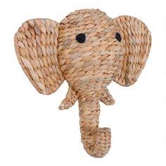 World Market Store, Hanging Artwork, Water Hyacinth, Elephant Head, Safari Nursery, Colorful Wall Art, Nursery Wall Decor, Nursery Design, Animal Heads