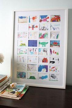 どれも素敵で全部飾りたいという時は、縮小コピーをして1つの額の中に納めましょう。 コピー用紙の貼り付けが隠れるよう、絵の上には厚紙で作った四角い枠を設置します。この手間があるだけで作品がぐぐっとおしゃれになっちゃいます。