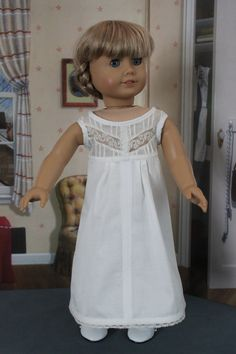American Girl Doll Clothes -- White Sleeveless Nightgown or Slip Upcycled from Antique Blouse -- AC50