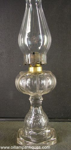 When you look at this antique oil lamp, it is very easy to see why the pattern is called Fishscale with Cable Font. The lamp was made by Dalzell, Gilmore & Leighton Co. in Findlay, Ohio circa 1895.