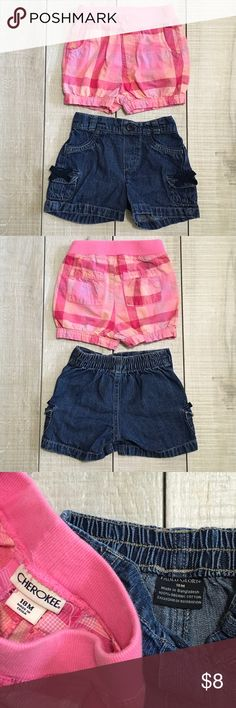 Summer Tee & Shorts Bundle Lot Size 18m. OshKosh tee. Faded Glory jean shorts. Cherokee plaid shorts. Good to very good condition. Smoke free home. Unscented laundry products. Cherokee Bottoms Shorts