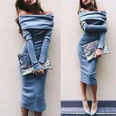 Sexy Off Shoulder Slim Fit Midi Dress