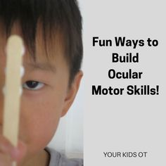 Fun ways to build ocular motor skills Visual Motor Activities, Visual Perceptual Activities, Sensory Activities, Learning Activities, Sensory Diet, Sensory Rooms, Occupational Therapy Activities, Occupational Therapist, Vision Therapy