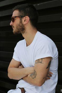 White tee hair beard sunglasses