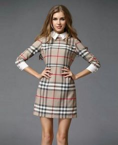 2fe4311d08d ... directly from China dress sleeves Suppliers  Spring Summer new fashion  2014 British brit brand preppy style mini dress khaki red plaid casual  women s ...
