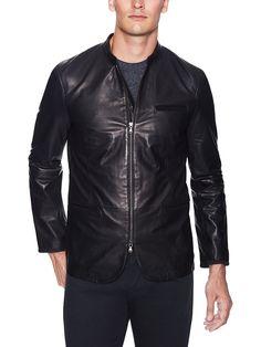 Zip Closure Leather Blazer