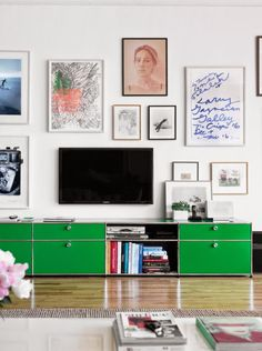 Take the focus off the TV by adding a gallery wall. I like this idea. I'm not a fan of the television dominating a room.