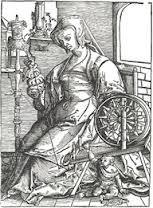 Engraving Lucas van Leyden German Costume, Hand Spinning, Spinning Wheels, Medieval Furniture, Landsknecht, Drop Spindle, 16th Century, Miniatures, History