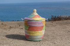 Authentic Senegal Basket, Medium Multi-Colored, African Basket, Laundry Basket…